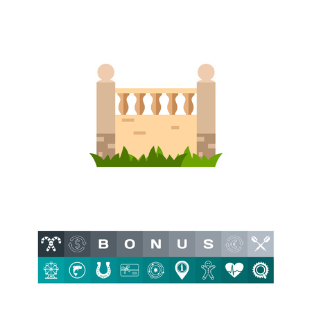 Vector icon of brick fence with balustrade. Architectural detail, garden, gate. City landscape concept. Can be used for topics like architecture, construction, building