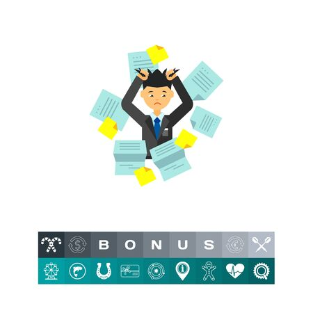 Businessman in Pile of Office Papers Icon
