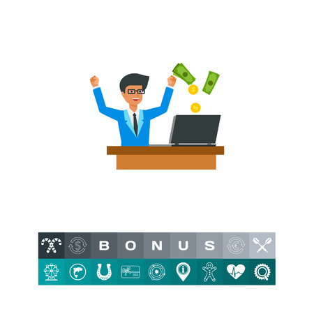 Businessman rejoicing online earnings icon
