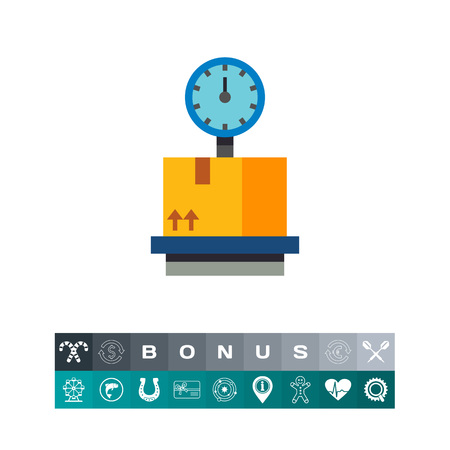 Cardboard box on storage scales icon Illustration