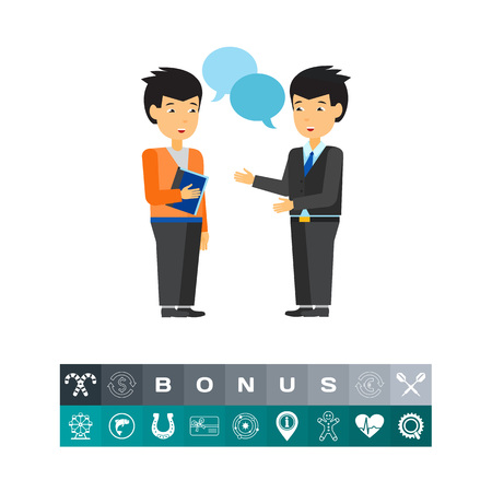 communication concept: Two businessmen talking and illustration of speech bubbles. Dialogue, conversation, partnership. Communication concept. Can be used for topics like business, business relationships, diplomacy Illustration