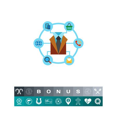 El hombre y los medios de comunicación. Gadget, chat, mensaje. Los canales de comunicación concepto. Puede ser utilizado para temas como la comunicación, la tecnología, la comercialización.