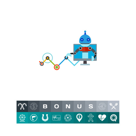 Vector icon of computer with robot touching network. Computer intelligence, artificial intelligence, smart computer. Neuron meshes concept. Can be used for topics like technology, internet, robotic technology