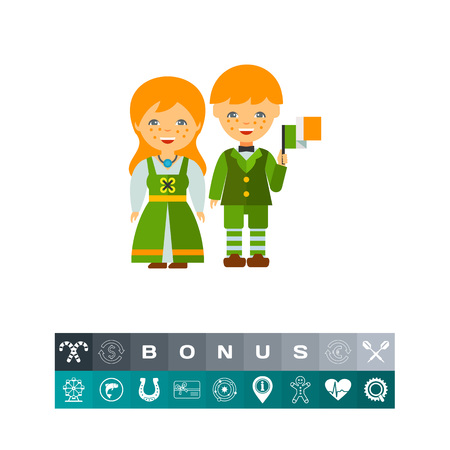 Couple in traditional Irish costume icon Illustration