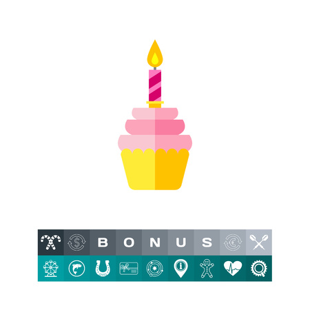 Cupcake with Candle Icon