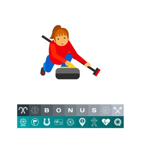 Curling Sport Vector Icon Illustration