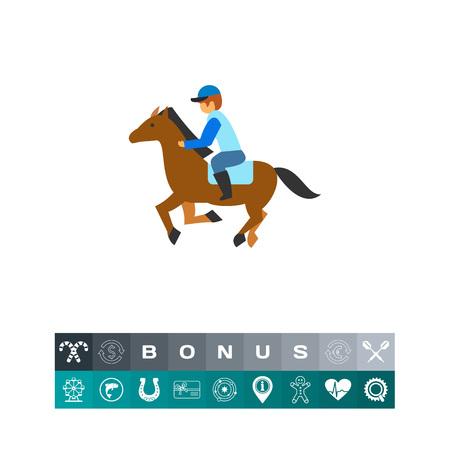 Jockey riding horse at hippodrome icon