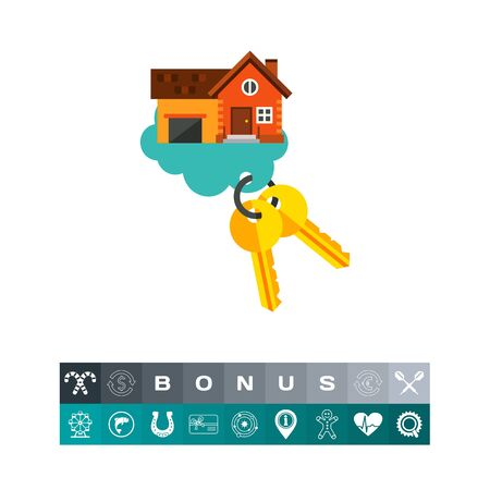 Key of dream house in cloud icon