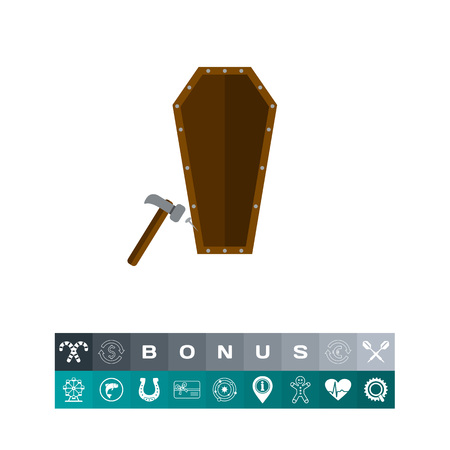 Icon of last nail in coffin. Grave, cemetery, burial. Funeral service concept. Can be used for topics like death, graveyard, carpentry Illustration