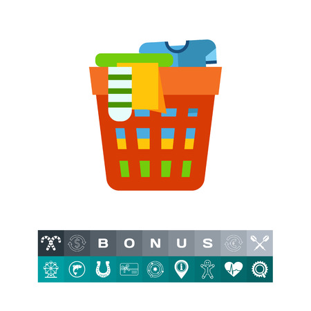 unwashed: Icon of laundry basket. Garment, fashion, cleaning. Laundry concept. Can be used for topics like  household, washing