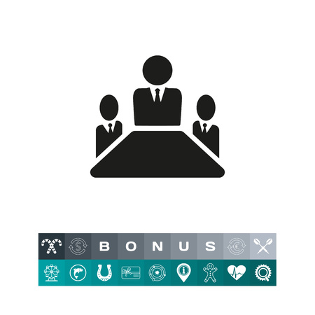 Simple icon of leader and his team. Leadership, ceo, subordination. Business training concept. Can be used for topics like business, management, cooperation