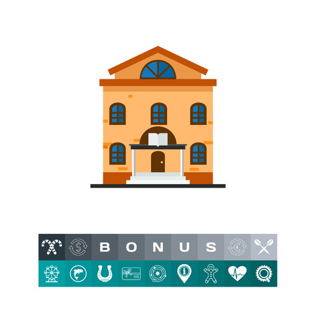 Icon of library building. Achieve, municipal building, book store. Education concept. Can be used for topics like university, architecture, culture