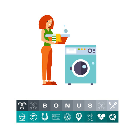 laundry care symbol: Icon of woman loading dirty clothes. Housewife, washing, appliance. Laundry concept. Can be used for topics like housework, routine
