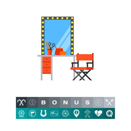 Makeup table with mirror and chair icon Illustration