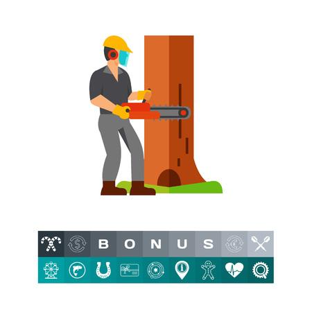 Man cutting tree icon Illustration