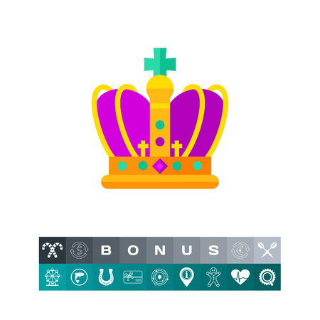 Mardi Gras golden and purple crown icon