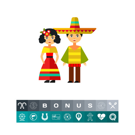 Mexican woman and man in national costumes Illustration