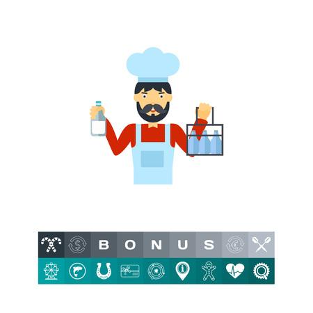 Milkman holding milk bottles vector icon Ilustração