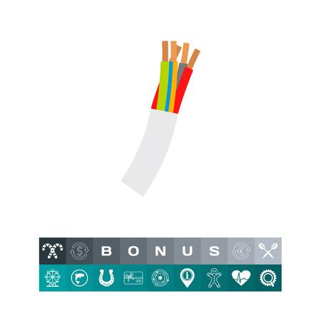 Multi-conductor Wire Cord Vector Icon Çizim