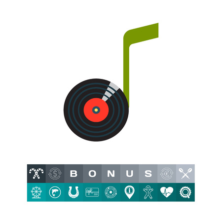 grooves: Note Vinyl Disk Icon Illustration