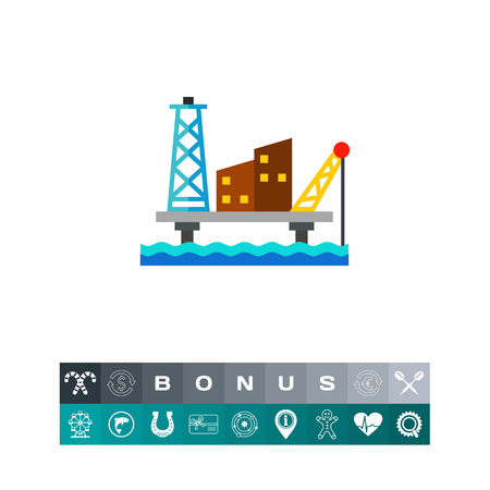Offshore oil production platform icon