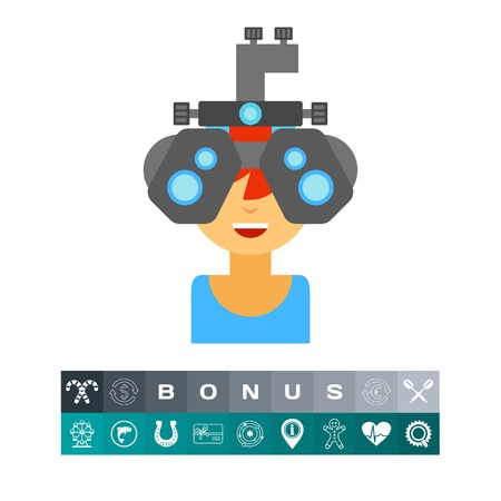 checking: Icon of optometrist at work. Cheerful doctor, medicine, examining. Oculist concept. Can be used for topics like profession, optometry or ophthalmalgia