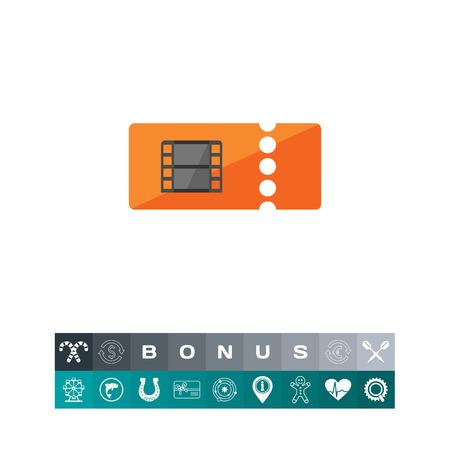 film industry: Orange cinema ticket icon vector illustration.