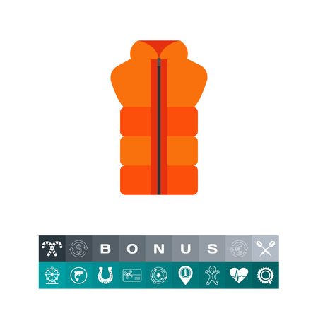Vector icon of orange waistcoat with zipper. Outdoor clothing, unisex clothes, sport style. Illustration