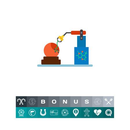 genetic modification: Icon of orange modification. Fruit, toxic, automatic machine. GMO concept. Illustration