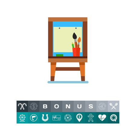 school class: Pad box with paper and brushes vector icon