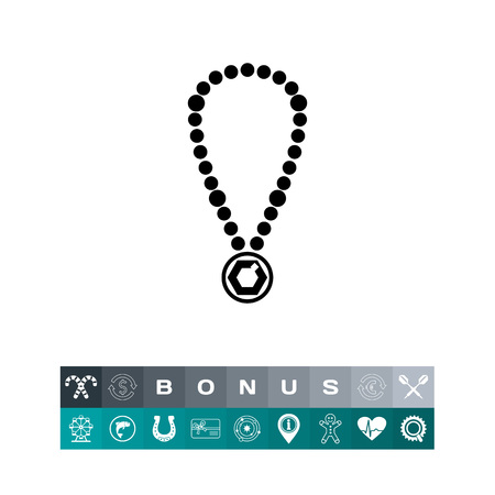 expensive: Pearl Necklace with Pendant Icon Illustration