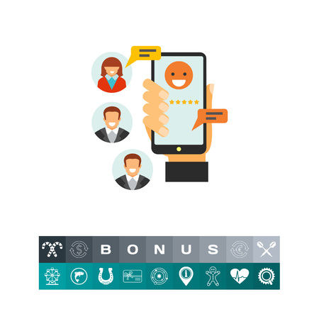 mobile app: Phone chatting as mobile services icon Illustration