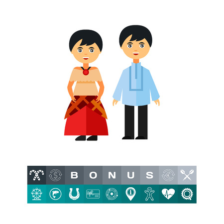 フィリピンの男の子と伝統的な衣装で女の子のアイコン。陽気なカップル、友人、ファッション。フィリピン民族衣装のコンセプトです。服、スタ