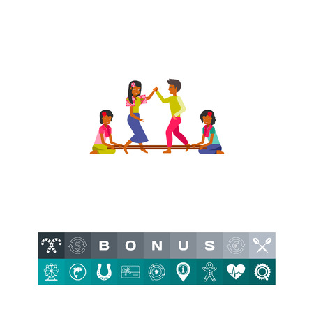 Icon of Philippines people dancing tinikling between poles. Traditional dance, pair, together, coordination. Philippines culture concept. Can be used for topics like leisure, lifestyle or entertainment Illusztráció