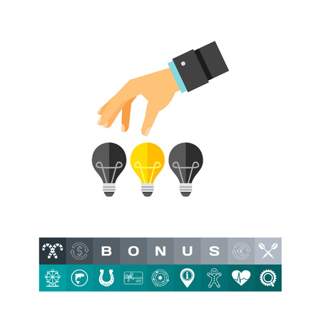 Hand picking up bright light bulb among three. Creativity, vision, development. Great idea concept. Can be used for topics like business, technology, science. Illustration