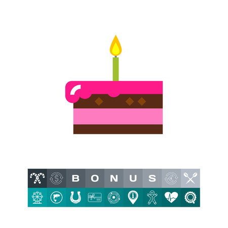 Piece of cake with burning candle. Sweet, party, dessert. Cake concept.