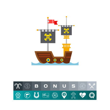 Pirate ship. Skull, adventure, old. Ship concept. Can be used for topics like shipbuilding, culture, history.