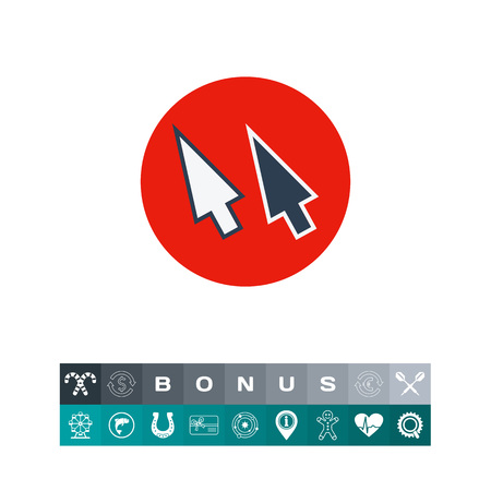 navigating: Illustration of two computer arrows on red circle background. Pixel arrows, cursor, click, computer. Pixel arrow concept. Can be used for topics like computer, Internet, technology