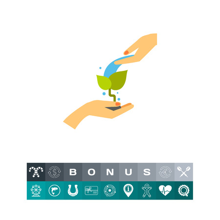 Icon of hands watering plant. Irrigation, cultivation, care. Seeding concept. Can be used for topics like gardening, fertility, protection, planting Illustration
