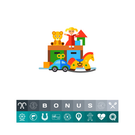 toy chest: Vector icon of playroom with toys. Nursery, toy room, toy store. Can be used for topics like childhood, leisure, preschool