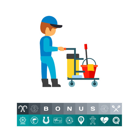 Plumber with cart icon