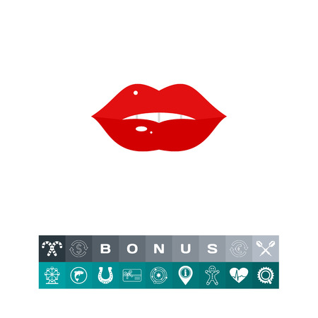 Icon of beautiful red lips. Beauty, woman, sensuality. Body part concept. Can be used for topics like healthcare, cosmetology, cosmetics Illustration
