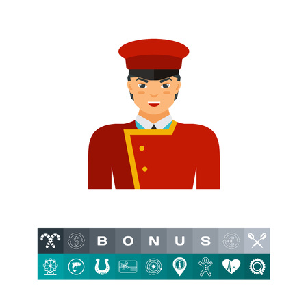 Vector icon of porter in uniform. Elevator boy, doorman, usher. Can be used for topics like hotel, service industry, occupation
