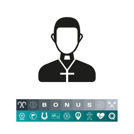 pastor: Priest wearing cross simple icon Illustration