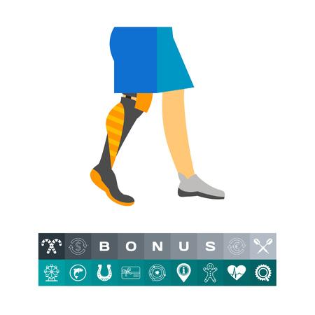 amputee: Prosthetic leg icon Illustration