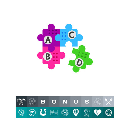 Puzzle with letters vector icon Illustration