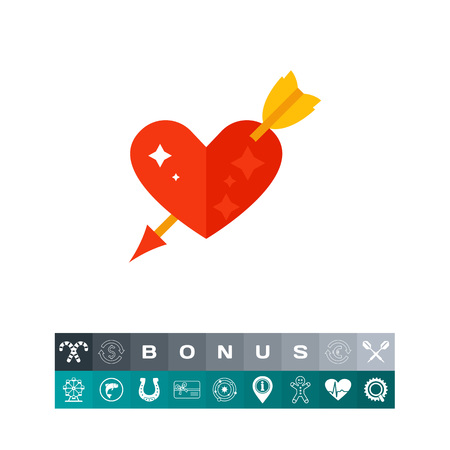 Red heart with arrow vector icon Illustration