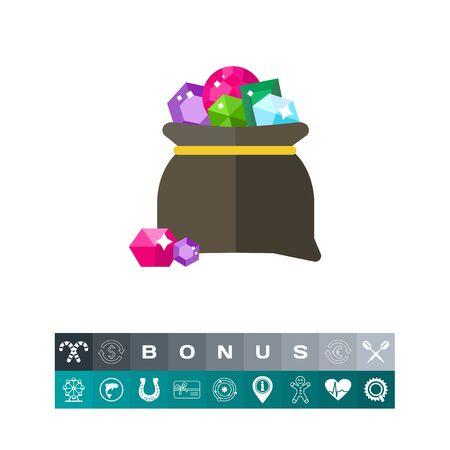 Vector icon of bag avec gemmes colorées. Trésor, pierres précieuses, pierres précieuses. Concept de gemmes. Peut être utilisé pour des sujets comme le luxe, la richesse, les bijoux Banque d'images - 84015205