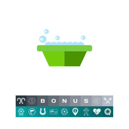 Icon of basin with soap. Housework, washing, presoaking. Laundry concept. Can be used for topics like household, hygiene, bath