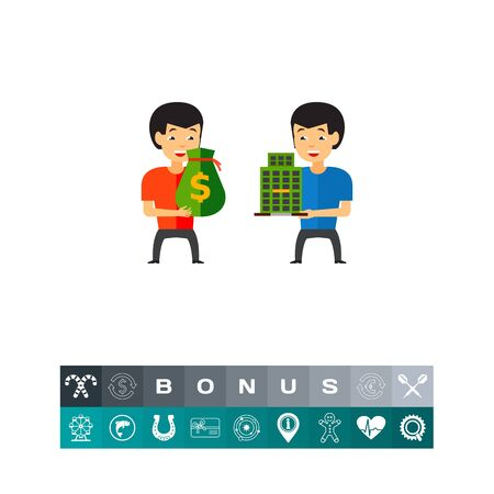 Two men holding money bag and building. Company, takeover, selling. Buying company concept. Can be used for topics like building, business, finance.